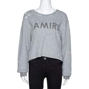 Amiri Grey Cotton Paint Splattered Distressed Sweatshirt XS