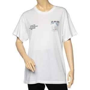 Amiri White Rainbow Dove Printed Cotton Oversized Crewneck T-Shirt XS