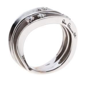 Annamaria Cammilli Dune 4 Diamonds 18k White Gold Ring Size 54