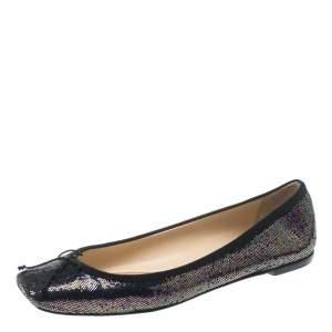 Christian Louboutin Multicolor Metallic Glitter Spotlight Rosella Square Toe Ballet Flats Size 40.5