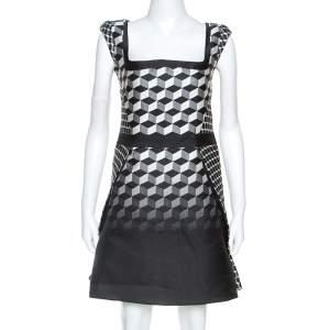 Antonio Berardi Monochrome Geometric Patterned Jacquard Silk Mini Dress M