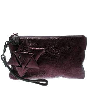 Anya Hindmarch Metallic Purple Scrooge Wristlet Pouch
