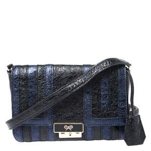 Anya Hindmarch Blue/Black Textured Stripe Leather Flap Crossbody Bag
