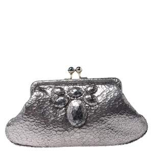 Anya Hindmarch Silver Crackled Leather Knot Clutch
