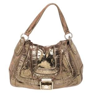 Anya Hindmarch Gold Laminated Suede Crackle Effect Flap Buckle Shoulder Bag