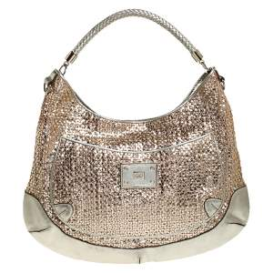 Anya Hindmarch Metallic Gold Woven Leather Jethro Hobo