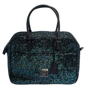 Anya Hindmarch Dark Blue Glitter Carker Boston Bag