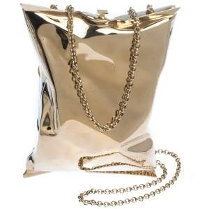 Anya Hindmarch Metallic Gold Metal Crisp Packet Clutch