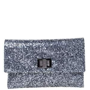 Anya Hindmarch Silver Glitter Valorie Clutch