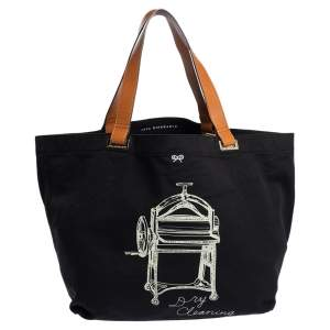 Anya Hindmarch Black/Tan Canvas Dry Cleaning Tote