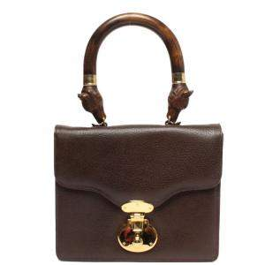 Anya Hindmarch Brown Leather Top Handle Bag
