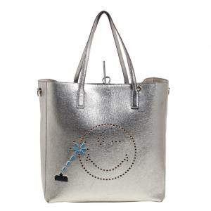 Anya Hindmarch Metallic Grey Leather Perforated Wink Tote