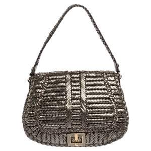 Anya Hindmarch Metallic Grey Woven Leather Flap Hobo