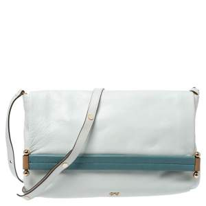 Anya Hindmarch White/Blue Leather Flap Shoulder Bag