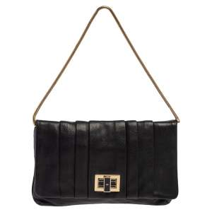 Anya Hindmarch Black Leather Flap Pochette Bag