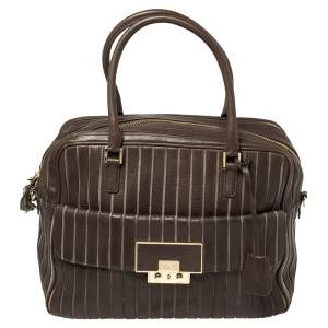 Anya Hindmarch Brown/Grey Leather And Suede Bowling Bag