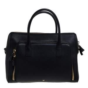 Anya Hindmarch Black Leather Front Zipper Pocket Satchel