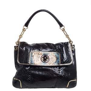 Anya Hindmarch Dark Brown Python Leather Shoulder Bag