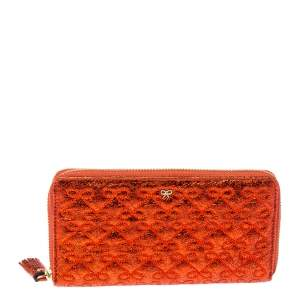 Anya Hindmarch Metallic Orange Textured Embossed Leather Zip Around Wallet