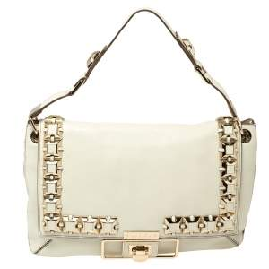Anya Hindmarch White Leather Studded Flap Top Handle Bag