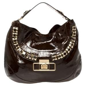 Anya Hindmarch Dark Brown Patent Leather Studded Hobo