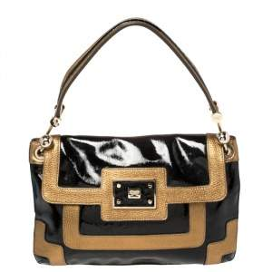 Anya Hindmarch Black/Gold Patent And Leather Flap Shoulder Bag