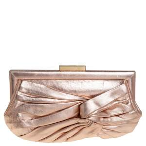 Anya Hindmarch Metallic Gold Leather Frame Clutch