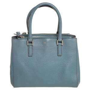 Anya Hindmarch Stone Blue Leather Double Zip Tote