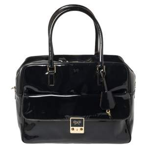 Anya Hindmarch Navy Blue Patent Leather Carker Satchel