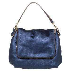 Anya Hindmarch Navy Blue Holographic Textured Leather Shoulder Bag