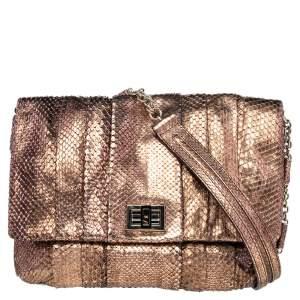 Anya Hindmarch Bronze Python Shoulder Bag