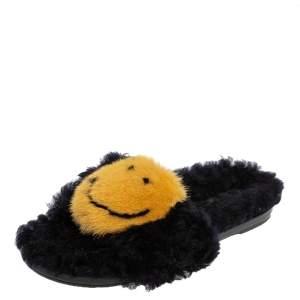 Anya Hindmarch Black/Yellow Smiley Shearling And Fur Flat Slides Size 41