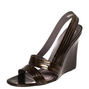 Anya Hindmarch Brown Leather Wedge Sandals Size 38