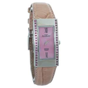 AquaMarin Pink Stainless Steel & Leather Ruby Avalon Women's Wristwatch 21 mm
