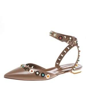Aquazzura Beige Leather Byzantine Stud Embellished Pointed Toe Flat Sandals Size 38