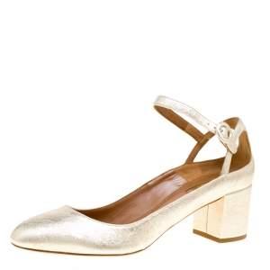 Aquazzura Metallic Gold Laminated Leather Sweet Thing Block Heel Ankle Strap Pumps Size 40