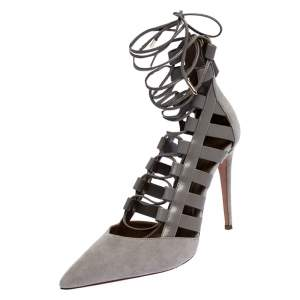 Aquazurra Grey Suede and Leather Amazon Cut Out Strappy Pointed Toe Pumps Size 40.5