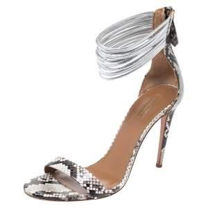 Aquazzura Monochrome Python Spin Me Around Strappy Sandals Size 41