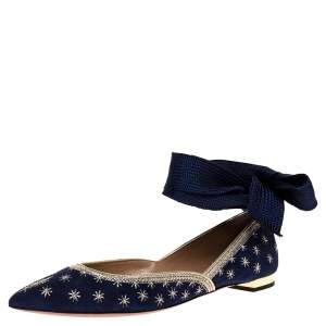 Aquazzura Blue Embroidered Suede Leather Bliss Ankle Wrap Ballet Flats Size 38