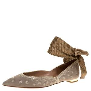 Aquazzura Grey Embroidered Suede Leather Bliss Ankle Wrap Ballet Flats Size 37