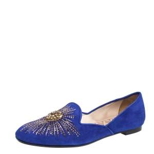 Aquazzura Royal Blue Suede Sunlight Embellished Loafers Size 39