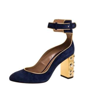 Aquazzura Navy Blue Suede Lucky Star Ankle Strap Pumps Size 38.5