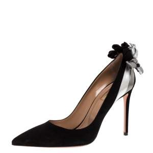 Aquazzura Black/Silver Suede Leather Fire Pointed Toe Pumps Size 37