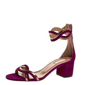 Aquazzura Purple Suede Leather Moon Ray Ankle Cuff Sandals Size 37.5