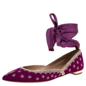 Aquazzura Purple Suede Leather Bliss Embroidered Ankle Wrap Ballet Flats Size 37