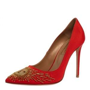 Aquazzura Red Moire Fabric Sunlight Embellished Pointed Toe Pumps Size 36