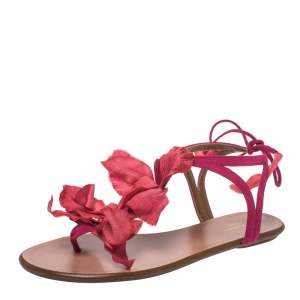 Aquazzura Fuchsia Suede 'Flora' Ankle Tie Flat Sandals Size 37