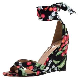 Aquazzura Multiclor Fabric Wedge Ankle Wrap Sandals Size 37