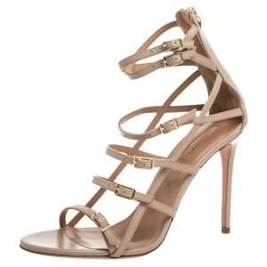 Aquazzura Beige Leather Super Model Strappy Sandals Size 38