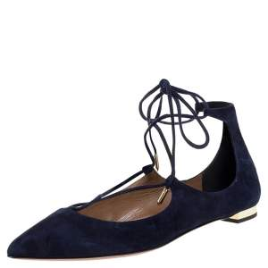 Aquazzura Navy Blue Suede Christy Lace Up Pointed Toe Flats Size 37